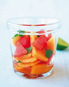 #Melone in Zitronengras-Sirup