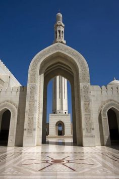 Picture of Minaret and arch of Sultan Qaboos Grand Mosque   Oman   Asia