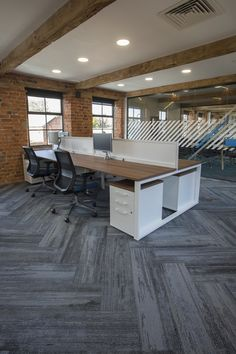 Workspace at Advanced Commercial Interiors' offices in Nottingham
