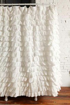 $79 dark green, light pink, and white, Waterfall Ruffle Shower Curtain - Urban Outfitters