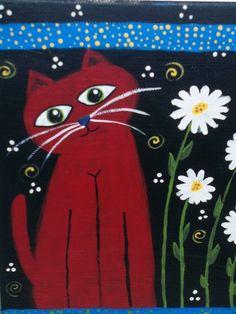 folk art kitty  orginal