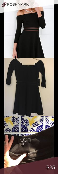 Lulu's Say Yes to the Mesh black skater dress Never worn. Excellent condition. Lulu's Dresses