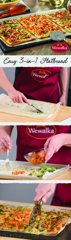 This easy to make family dinner with our new Flatbread dough pleases all family members. Healthy Eating Tips, Healthy Cooking, Cooking Recipes, Healthy Recipes, Healthy Nutrition, Drink Recipes, Spinach Stuffed Mushrooms, Spinach Stuffed Chicken, Finger Food Appetizers