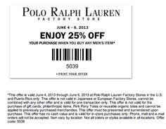 Enjoy an extra 25% Off at Polo Ralph Lauren \u0026amp; Polo Ralph Lauren Facto0ry Outlet