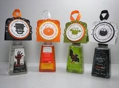 Peanuts and Peppers Papercrafting: Stampin' Up Two Tags Die Halloween Hand Sanitizers