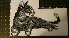Cat hama perler beads by Perler Beads, Perler Bead Mario, Fuse Beads, Hama Beads Animals, Beaded Animals, Hama Beads Design, Hama Beads Patterns, Motifs Perler, Pixel Pattern