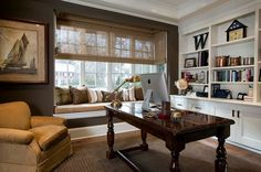 Elegant Home Office With Large Glass Window And Cozy Window Seating Also Built In Shelves And Cabinet Also Varnished Wooden Desk Also Brown Upholstered Armchair Outstanding Office Window Seat Design Ideas
