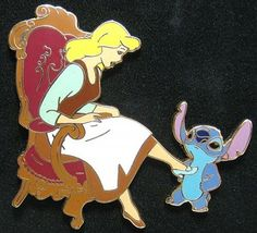 Stitch and Cinderella Be My Valentine series pin