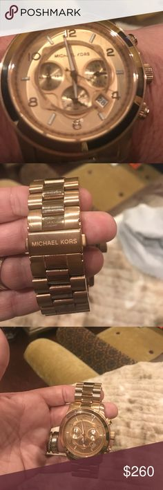Authentic Michael Kors Rose Gold oversized watch Beautiful Rose Gold like new Michael Kors Watch Michael Kors Jewelry