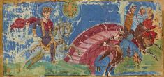 Constantine's Vision (by Bibliothèque Nationale de France) - Constantine I 's (r. 306-337 CE) vision and the Battle of the Milvian Bridge in a 9th-century Byzantine manuscript. Detail from folio 440 recto of manuscript BnF MS Gr510, dated 879-883 and containing the homilies of Gregory of Nazianzus. Bibliothque Nationale de France, Paris .