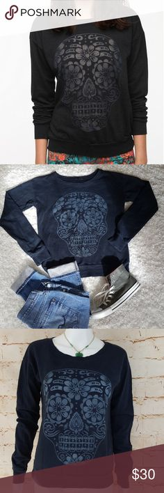 """Urban Outfitters Truly Madly Deeply sweatshirt Excellent condition like new Urban Outfitters comfy cozy burn out sweatshirt. Super soft and cute laid back chic. 19"""" across from armpit to armpit and 24"""" long from shoulder to hem very dark blue color Urban Outfitters Sweaters"""