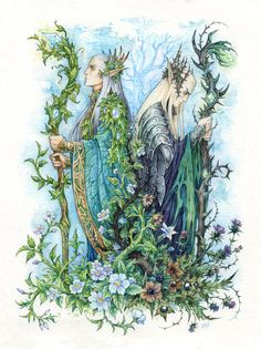"""Kings of Seelie and Unseelie Courts by Candra.deviantart.com on @DeviantArt - Celeborn and Thranduil from """"The Hobbit"""" and """"Lord of the Rings""""; click the pin for a thorough description on the concept behind this picture!"""