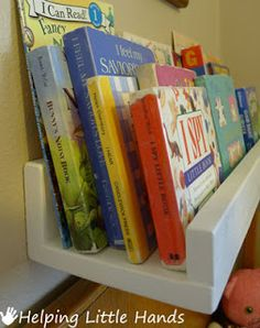 Helping Little Hands: Easy Front-Facing Picture Book Display Shelves - deeper than the typical forward facing shelves Floating Books, Floating Wall, Book Ledge, Book Display Shelf, Book Displays, Book Racks, Toy Rooms, Kids Rooms, Big Girl Rooms