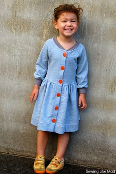 Sewing Like Mad Sweatshirt dress + adding a button placket to any top pattern #tutorial