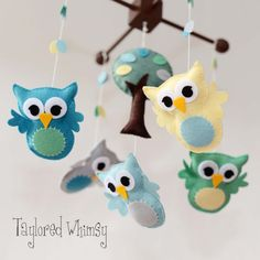 Owl Mobile  Custom Mobile ships in 46 weeks by TayloredWhimsy, $95.00