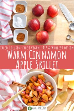 Warm Cinnamon Apple Skillet – Ana Ankeny Warm Cinnamon Apple Skillet is a delicious snack that tastes like classic apple crisp. A Paleo-friendly snack with an AIP and version. Kids will love this 15 minute snack! Dairy Free Snacks, Easy Gluten Free Desserts, Vegan Snacks, Yummy Snacks, Healthy Snacks, Snack Recipes, Healthy Recipes, Recipes Dinner, Whole 30 Snacks
