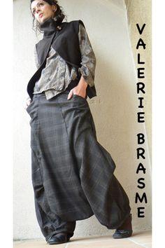 sarouel chic très long en tissu de costume masculin