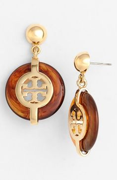 Tory Burch 'Deco' Logo Drop Earrings available at #Nordstrom