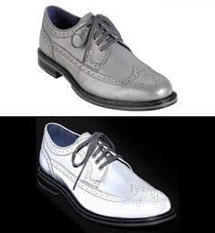 These stylish silver wingtip oxford shoes have a unique reflective upper surface that seems to illuminate in white when light strikes them.
