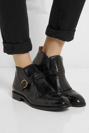Marc Jacobs Monk-strap glossed-leather ankle boots  awww yis