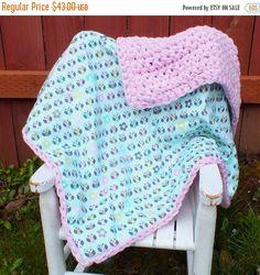 SALE Owl baby girl blanket crochet blanket flannel blanket