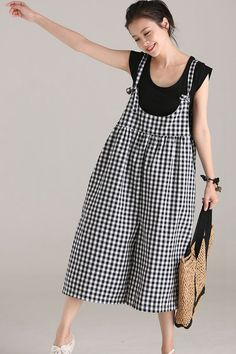8ccd2fa6c0a Plus Size Black Plaid Cotton Linen Overalls Women Loose Jumpsuit  ๏~✿✿✿~☼๏♥๏花✨✿写❁~⊱✿ღ~❥ FR Jun ~♥⛩☮️