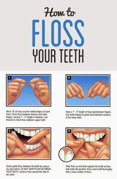How to floss your teeth. Are you flossing your teeth the right way? Go over these steps to make your flossing most effective.  Dentaltown - Patient Education Ideas