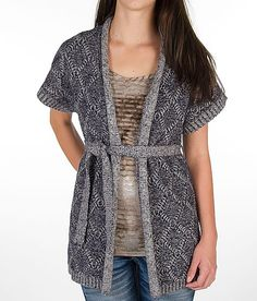 BKE Cable Front Cardigan Sweater