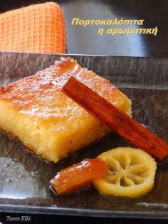 Νάμαι κι εγώωω!!! Μια, δυό, τρεις φορές και λίγες λέω συνάντησα αυτή ή σχεδόν αυτή την πορτοκαλόπιτα!! 'Ενα γλυκό... χίλιες παραλλαγές!! Πότε με φύλλα κομμένα, πότε με καταϊφι, πότε με φύλλα ψημένα αλ Greek Desserts, Greek Recipes, Delicious Desserts, Dessert Recipes, Yummy Food, Cooking Recipes, Healthy Recipes, Confectionery, How To Make Cake