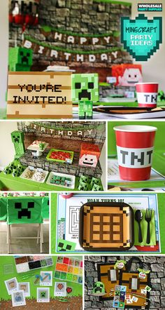 In 2009 Minecraft was born and in the 10 years since it has become one of the best selling video games of all time! What may seem like a simple game about Minecraft Party Activities, Minecraft Party Favors, Minecraft Party Decorations, Minecraft Birthday Party, Minecraft Crafts, Kid Party Favors, Candy Party, Minecraft Room, Minecraft Ideas