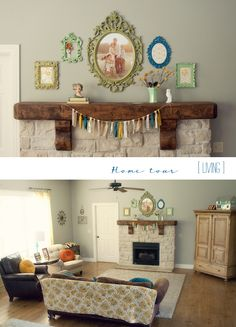 LOVE the family photo in that frame! Lovely mantle display | Mandy Lynne Living
