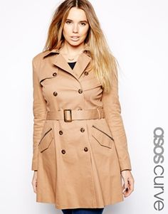16b13132a8f ASOS CURVE Exclusive Fit   Flare Trench at asos.com