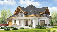 Dzierlatka III styl z garażem 2-st. [A] - zdjęcie 1 Home Building Design, Building A House, House Design, Beautiful House Plans, Architectural Design House Plans, India Beauty, Home Fashion, Beautiful Eyes, Planer