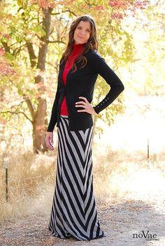 Diagonal Stripe Maxi Skirt