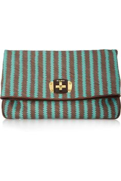 blue & brown | Woven leather clutch | MIU MIU