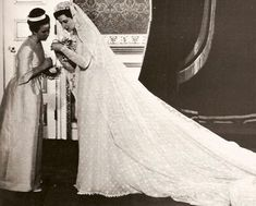 Chic Vintage Bride – Princess Alexandra of Kent on her wedding day with her chief bridesmaid, Princess Anne. Alexandra was a bridesmaid to Anne's mother Queen Elizabeth when she married the Duke of Edinburgh in Royal Wedding Gowns, Wedding Dress Trends, Princess Wedding Dresses, Royal Weddings, Wedding Bride, Wedding Shot, Country Weddings, Lace Weddings, Bridal Gowns