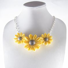 Yellow Flower Necklace Silver Tone Chain Kanzashi by DesignsInBloom