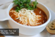 Slow Cooker Pizza Soup -  I have done a variation of this, and added cooked ground italian sausage with it too for added flavor!