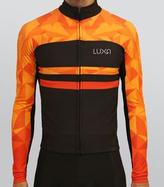 Long sleeve jersey from our Warm Orange collection. Deep black and hot orange colors. Special water repellent coating keeps out rain and water Cycling Wear, Cycling Jerseys, Cycling Outfit, Cycling Clothes, Road Cycling, Road Bike, Bicycle Clothing, Buy Bike, Bike Run