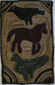 Hand Hooked Rug Early Style Primitive Folk Art Animals Rug       ~♥~
