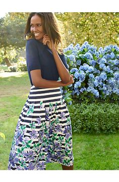 Embrace spring blooms in an Orchid and stripes Pleated skirt. Spring Summer Fashion, Spring Outfits, Style Me, Cool Style, 50 Fashion, Classy And Fabulous, Work Clothes, Clothes For Women, Talbots
