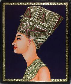 Tanjore Egyptian Pharaoh Artwork Handmade Indian Thanjavur Gold Relief Painting