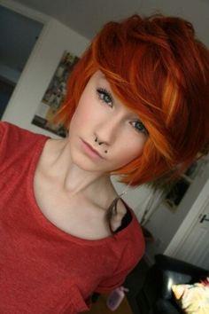 Orange Wavy Bob Hairstyle