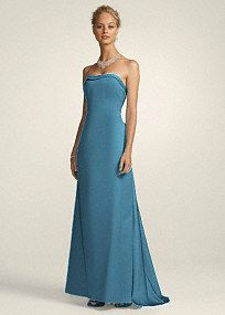 $79.99 @ David's Bridal  Strapless satin A-line with Cascading Back Style 81026