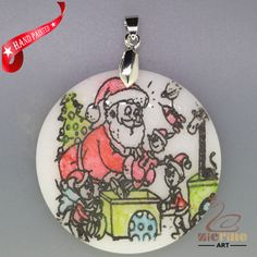 CHRISTMAS ENGRAVED HAND PAINTED SANTA PENDANT NATURAL WHITE STONE ZL7001660 #ZL…