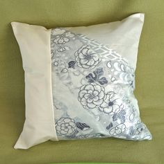 The delicate Indigo Blue floral patterns on white silk will add warmth and beauty to your home. This exquisite Kimono Tango throw pillow cover is 18