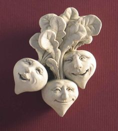 Rowdy Red Radishes -- Carruth Studio: Waterville, OH Clay Projects, Clay Crafts, Paper Crafts, Polymer Clay Fairy, Garden Plaques, Clay Fairies, Stone Statues, Needle Felted, Sculpture Clay