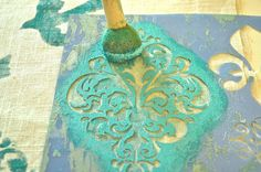 Stenciling How-To- try this stenciled pillow project by Jennifer Rizzo!