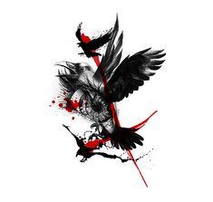 Raven çöp polka dövme tasarım