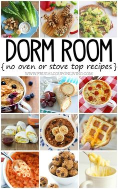 No Bake Dorm Room Recipes You Want to Eat! is part of Dorm room food - No Bake Dorm Room Recipes on Frugal Coupon Living No Bake Recipe Ideas for kids without a kitchen Microwave meals for one Lunch Snacks, Clean Eating Snacks, Eat Lunch, Lunch Meals, Diy Snacks, Dorm Room Food, Dorm Room Snacks, Kids Meals, Easy Meals